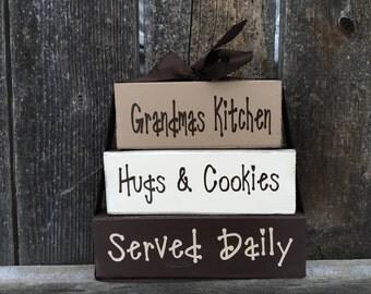 Grandma/Mothers day wood stacker blocks-- Grandmas kitchen hugs and cookies served daily