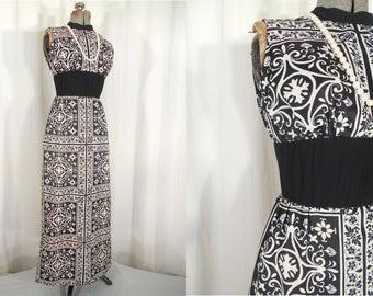 Vintage 1960s Dress - 60s Maxi Floral Dress, Small Black White Maxi Dress, Hippie Boho Dress Tunic with Pants, Empire Waist Dress