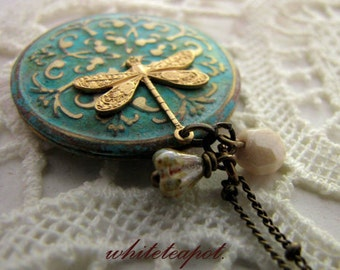 Dragonfly Locket Necklace personalized in green blue verdigris with gold dragonfly custom message Photo keepsake Valentines day gift for her
