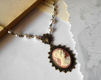 Cameo necklace with Swarovski pearls and pink ivory cameo gift for her short choker vintage jewelry Valentines - Lady of the sea