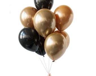 """GILDED - 11"""" Gold and Black Balloon Bouquet (10 balloons per package)"""