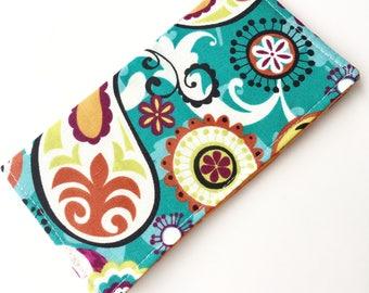 Fabric Checkbook Cover, Checkbook Holder, Checkbook Wallet, Coupon Holder, Organizer, Cute Checkbook- Orange Teal Blue Paisley Polka Dots