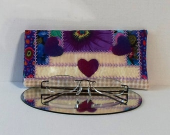 Hand Made Valentines Eye Glasses Case Cotton Fabric Courthouse Steps Pattern