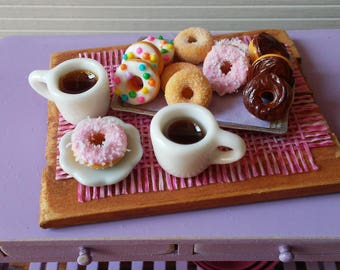 1:12 Scale Miniature Dollhouse Tray of Donuts and 2 Cups of Coffee