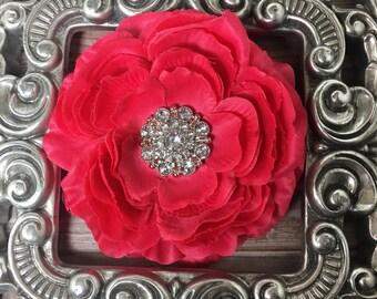 Hot pink, red hair flower, flower hair clip, hair accessory, red hair flower, hot pink hair flower, girls hair clip, womens hair flower