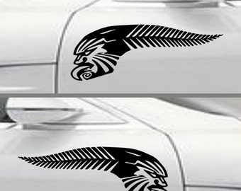 Kiwi Pride NZ Sticker Silver Fern Maori Tattoo design decals Maori design car decals car stickers