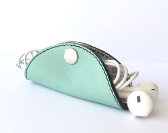 Cordelia Cord Wrap:  Two-tone leather wrap in Mint and metallic silver foil