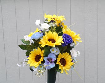 Sunflower Blues Cemetery Arrangement