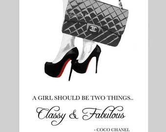 Chanel Bag, Christian Louboutin Black Shoes Art Print, Coco Chanel Fashion Quote, Fashion Gifts, Wall Art