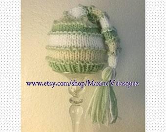 Mint green handmade knit newborn striped tassel beanie cap photo prop