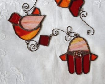 FISH,DOVE,HAMSA Moblie -Colors: Red,Special Pink and Orange -Wall Hanging