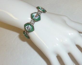 Vintage Persian Enamel Silver Link Bracelet Green White Hand Painted Flowers Birds Landscape Late Art Deco