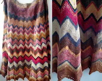 Handknit Pleated Skirt,hippy Skirt,boho Pleated skirt, Red pimk blue skirt,wool skirt, Free Shipping