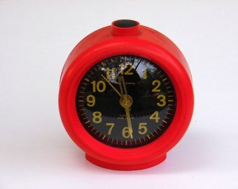 JANTAR - Vintage Red Mechanical Alarm Clock - from Russia / Soviet Union / USSR