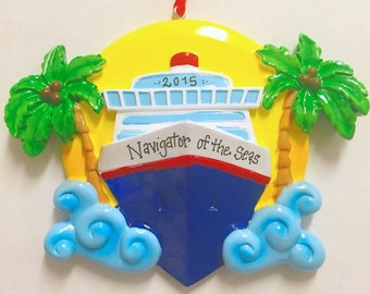 FREE SHIPPING Cruise Ship Personalized Christmas Ornament / Cruise Ornament / Yacht Christmas Ornament