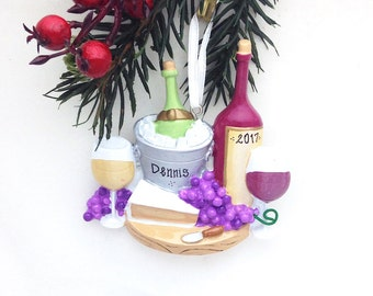 FREE SHIPPING Wine and Cheese Personalized Christmas Ornament / Wine ornament / Wine Club / Hostess Gift / Host Gift / Girls Night