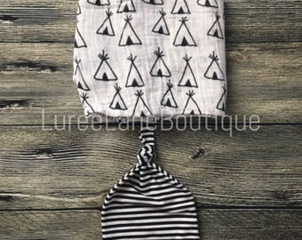 Teepee swaddle set/Boy swaddle set/Boy blanket set/Baby shower gift/Teepee blanket set/Baby boy blanket/Baby boy gift/Newborn swaddle set