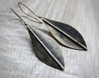Dangle Sterling Silver Olive Tree Leaf Earrings - Handmade Woodland, Botanical Jewelry - Organic Jewelry - Nature Inspired Earrings