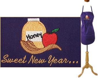 Sweet New Year Apron Rosh Hashanah Child Youth or Adult  Size Monogram Custom Embroidered Smock