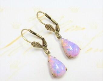 Pink Fire Opal Earrings Pink Opal Earrings Pink Teardrop Vintage Glass Harlequin Opal Gift
