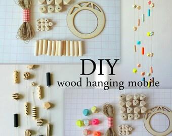 DIY Hanging Wood Mobile, Geometric Wood Mobile Kit,