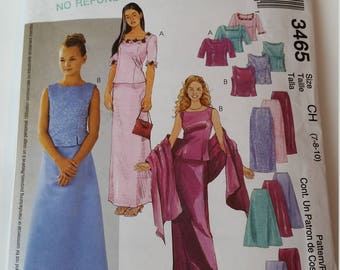 McCall's Sewing Pattern 3465 Girls' Tops, Skirts and Stole in Size 7, 8, 10