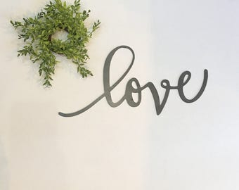 "14"" Ready-to-ship Love metal word sign farmhouse decor"
