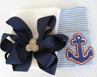 Newborn Hospital Hat with Boutique Bow, Rhinestone Center or Anchor Newborn Hospital Hat --newborn coming home outfit- boy hat