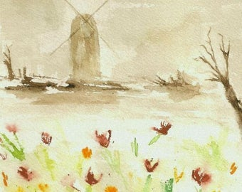 Old Windmill-ORIGINAL Watercolor Painting Landscape-Flowers-Tulips-Antique Burnt Umber-not a print-8x6