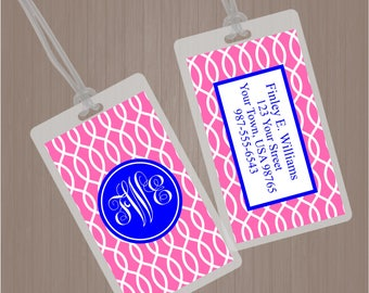Monogram Luggage Tag, Lattice Bag Tag, Lattice Luggage Tag, Lattice Diaper Bag Tag, Trellis Luggage Tag, Trellis Back Pack Tag, Daycare Tag