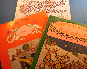 Vintage Christmas Music of  Favorite Songs in Two Books and one Sheet
