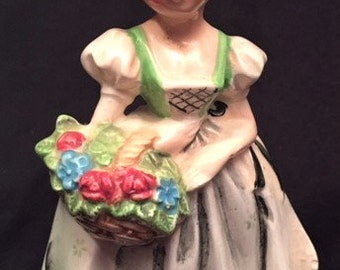 Lefton China girl with flowers small planter