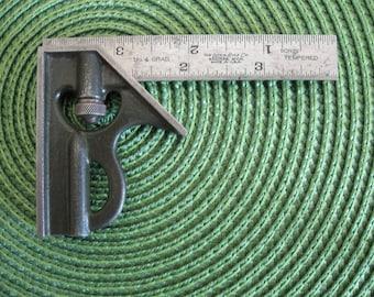 "Lufkin Rule Co. -  Small Machinist Square - Saginaw, Mich. -  Made in U.S.A. - No.4, 4"" 90 & 45 Degree - 1/8, 1/16, 1/32"", 1/64"" Scale"