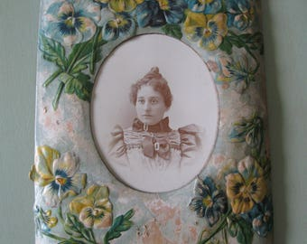 Victorian Pansy Frame and Antique Photo - (Instant Relative)