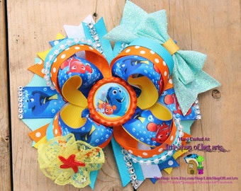 Finding Dory Finding Nemo inspired boutique bow ready to ship