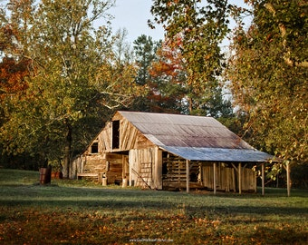 Rustic Barn Photograph, Autumn Barn Landscape Fine Art Print or Canvas Wrap, Rustic Barn Wall Decor