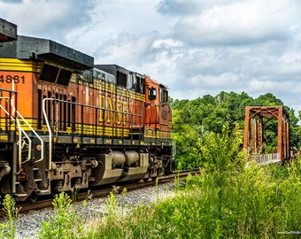 Train Photograph, Train and Railroad Bridge Fine Art Print in Color or Black and White, Railroad Photography, Railroad Landscape
