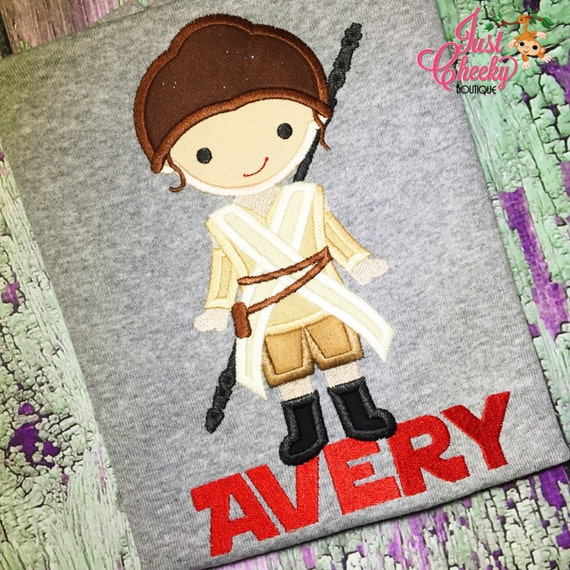 Rey - Star Wars Inspired - Kids Embroidered Shirt - Sample Sale Shirt - Force Friday Shirt - Star Wars Birthday Shirt