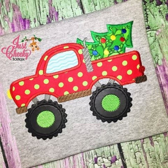 Monster Truck Christmas Tree Shirt - Southern Christmas Shirt - Christmas Truck- Kids Christmas Shirt - Boys Christmas Shirt