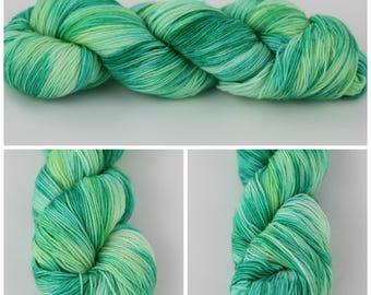 Simple Sock - Hand dyed sock {Margaritaville} sock yarn, knitting yarn, crochet yarn, aqua yarn, turquoise yarn and green variegated