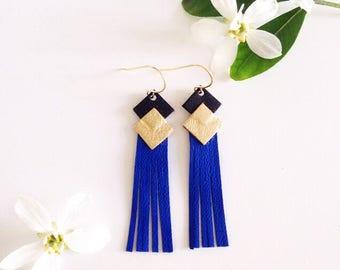 """Boucles d'oreilles en cuir """" Frangettes """" noir-or-bleu cobalt"""