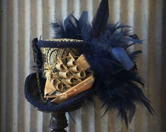 Mini Top Ship Hat, Steampunk Pirate Ship Mini Top Hat, Tea Party Hat, Mini Top Hat, Ship Hat, Steampunk Wedding, Mad Hatter Hat, Pirate Hat