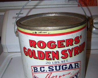 Rogers Golden Syrup Advertsing Tin Litho Pail Bucket BC Sugar Vancouver