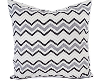Two Chevron Pillow Covers - Black and Grey Pillows - Modern Pillow - Black Pillow - Custom Pillow - 16 Inch Pillow - 18 x 18 Pillow 20 x 20