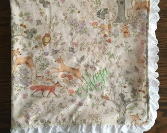 Forest Friends Baby Girl Blanket/ Eyelet Trimming / Minky Blanket