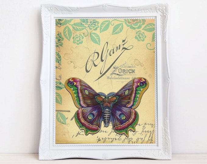 Vintage moth romantic Victorian art print