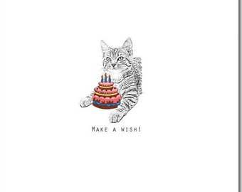 Cat Birthday Card, Make a Wish, Blank Inside