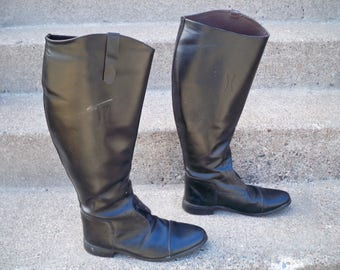 Vintage Made in Black Leather Riding Equestrian Knee High Women's Boots Size 10 Extra Wide