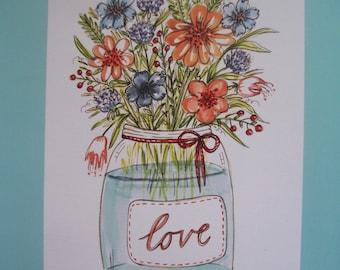 LOVE Illustration Art print, Childrens room decor, kids wall art, A4 watercolour print