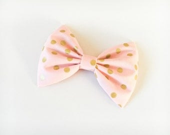 Pink and gold bow gold bow polka dot bow confetti bow confetti gold bow